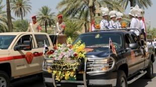 Đoàn xe quân đội trong tang lễ hai tướng Irak ngày 27/08/2015.