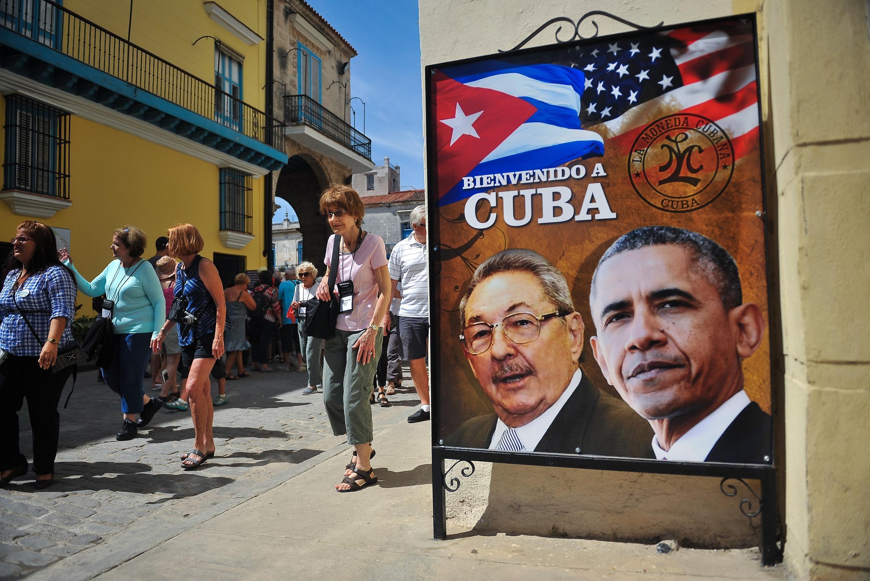 Bích chương chào mừng ông Barack Obama đến thăm La Habana, ngày 18/03/2016.