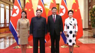 中朝两国领导人习近平、金正恩携夫人会面资料图片