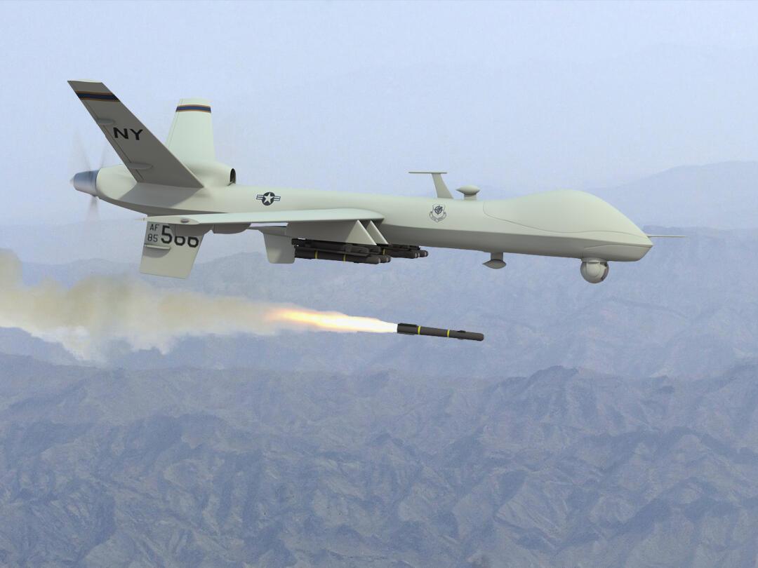 Um drone americano modelo Predator utilizado nos bombardeios na Síria.