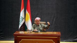 کنفرانس مطبوعاتی مسعود بارزانی، رئیس اقلیم خودمختار کردستان عراق در شهر اربیل. ۱۸ مرداد/  ٩ اوت ٢٠۱٧