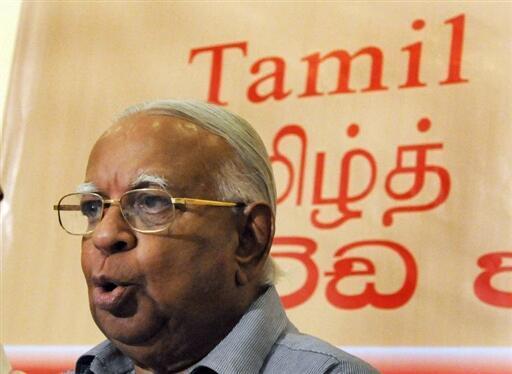 Le leader de l'Alliance nationale tamoule R. Sampanthan, le 12 mai 2009.