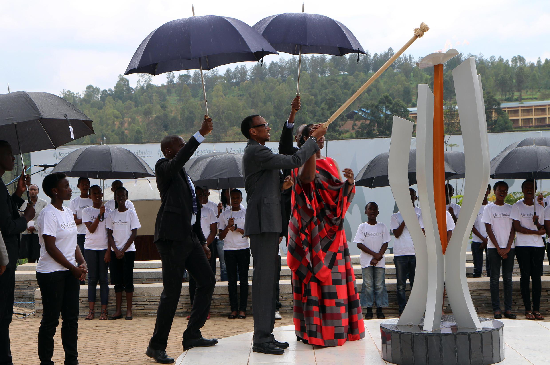 Le président rwandais Paul Kagame, au mémorial du Kigali, lors de la commémoration des 21 ans du génocide, le 7 avril 2015.
