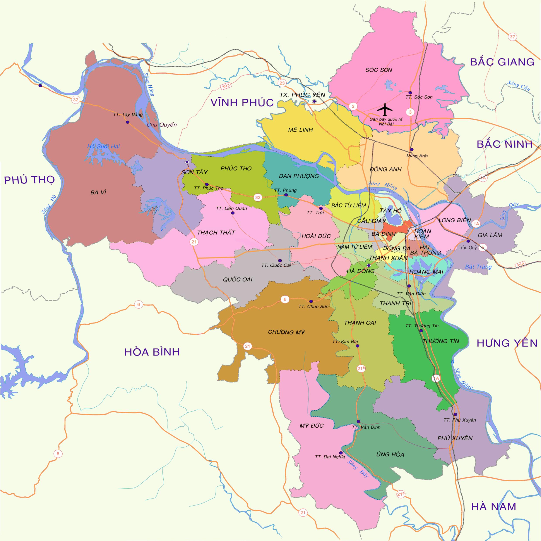 Huyện Mỹ Đức (màu hồng) nằm ở phía tây nam trung tâm thủ đô Hà Nội (Việt Nam).