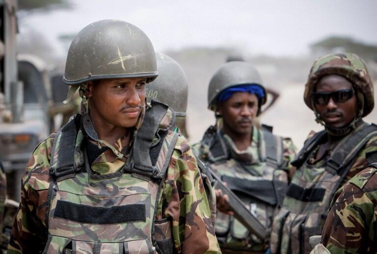 Des soldats du contingent kényan de l'Amisom en Somalie.