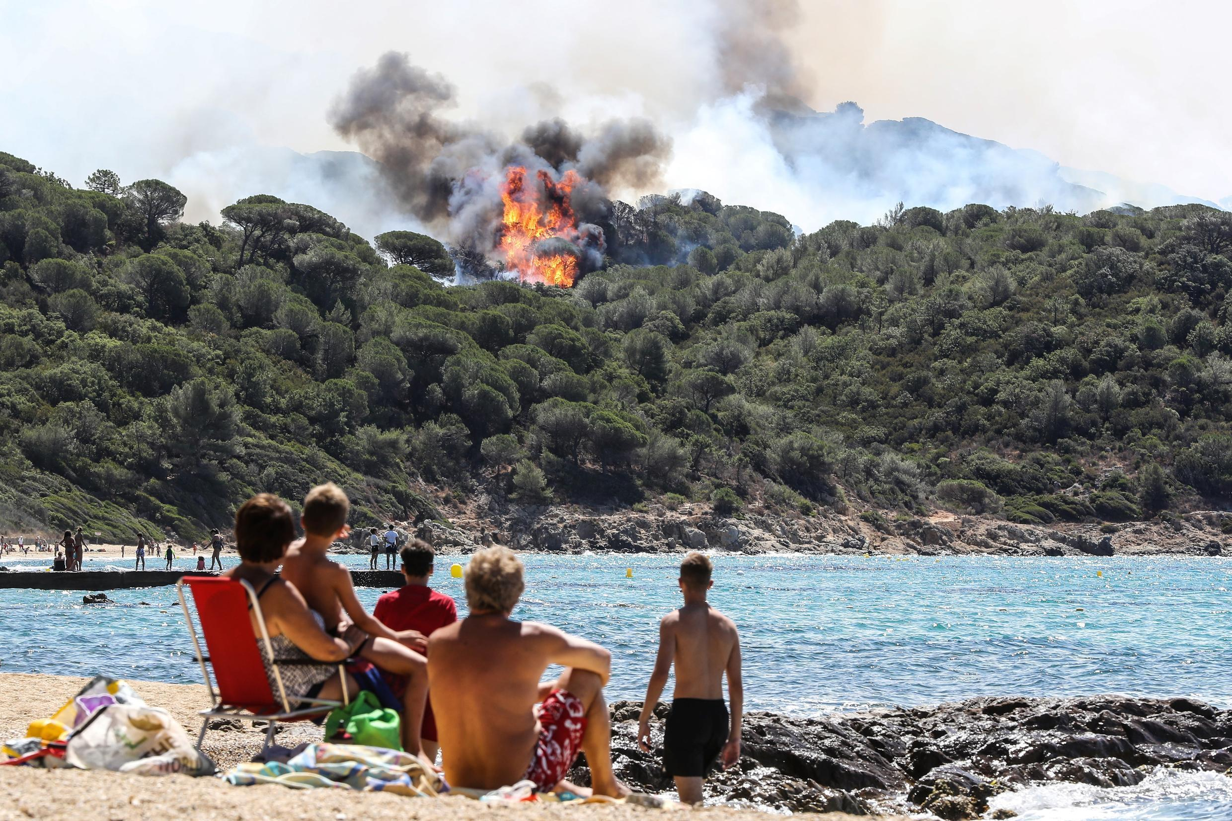Wildfire raging not far from the holiday resort of Saint-Tropez.