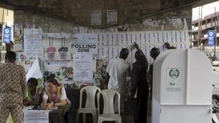 Un bureau de vote de Lagos, où la coalition du président élu est sortie victorieuse.