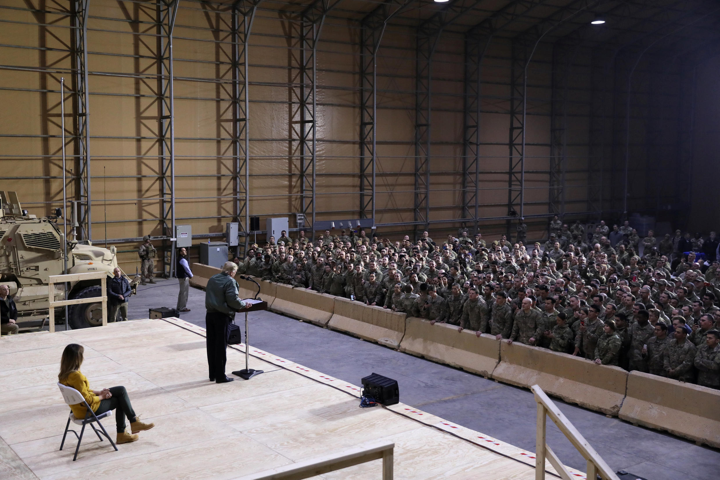 U.S. President Donald Trump delivers remarks to U.S. troops in an unannounced visit to Al Asad Air Base, Iraq December 26, 2018.