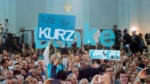 La liesse des partisans de Sebastian Kurz à l'annonce des premiers résultats issus des projections, le 29 septembre 2019, à Vienne.