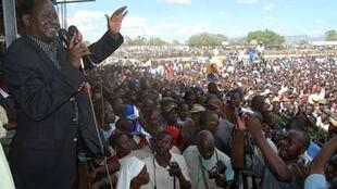 Kenya's opposition leader Raila Odinga in Kisumu