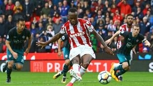 Stoke City striker Saido Berahino set up Burundi's goal in Bujumbura.