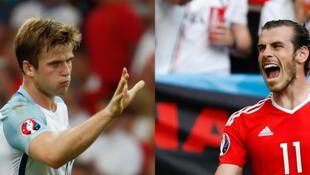 Eric Dier (Inglaterra) y Gareth Bale (Pais de Gales). Dos alegrias contrastadas en cuanto a la clasificacion para octavos de final en la Eurocopa  2016.