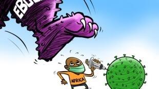 Cartaz de ilustração para a luta contra  propagação da febre hemorrágica Ebola
