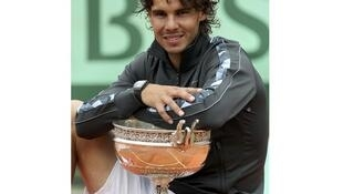 Watch out! Rafael Nadal at the Roland Garros stadium in Paris on 11 June