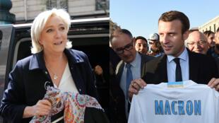 Marine Le Pen et Emmanuel Macron, candidats au deuxième tour de l'élection présidentielle française 2017.