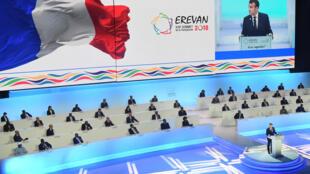 Le discours du président français Emmanuel Macron, de loin le plus long de la cérémonie d'ouverture du sommet d'Erevan, ce jeudi 11 octobre 2018.