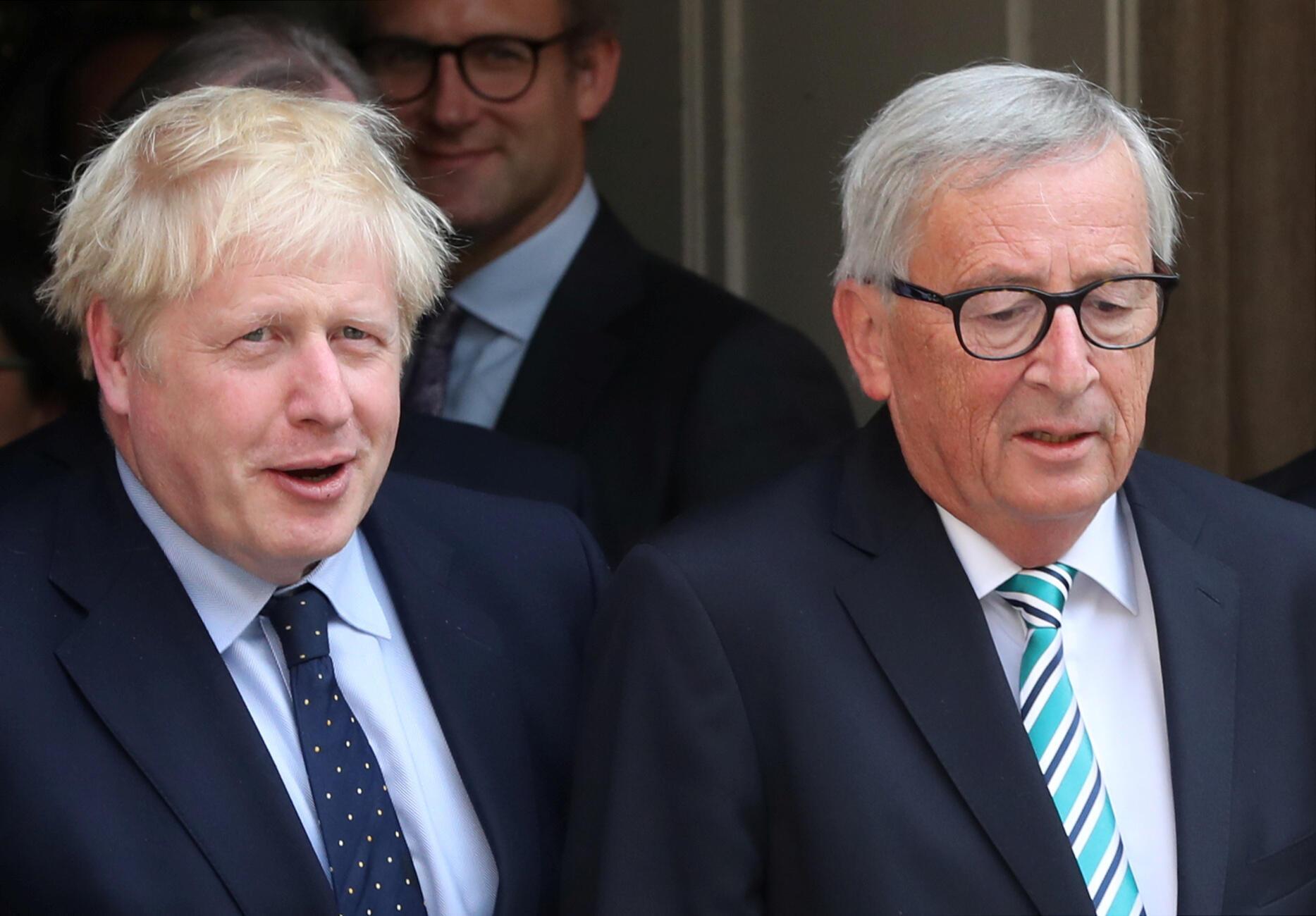 Boris Johnson et Jean-Claude Juncker après leur rencontre, le 16 septembre 2019, à Luxembourg.