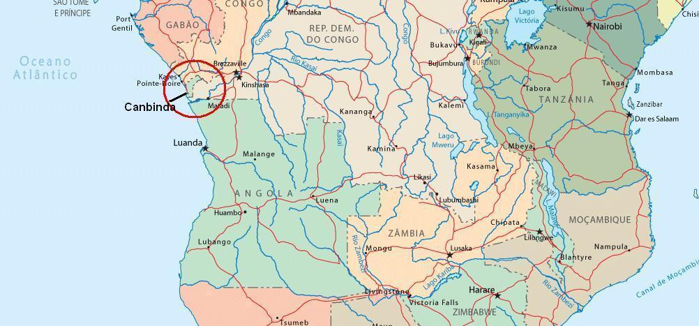 Mapa de África com destaque para Cabinda.