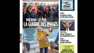 """""""Macron - Le Pen: A Guerra das Imagens"""" é a manchete do jornal Aujourd'hui en France desta sexta-feira (28)."""