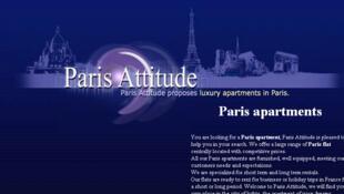Reprodução do site Paris Attitude que faz locação de apartamentos mobiliados para turistas e profissionais de passagem.