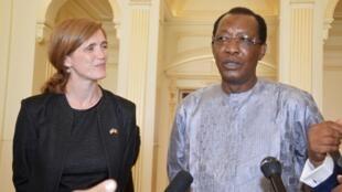 L'ambassadeur américain à l'ONU, Samantha Power, a rencontre le président Déby lors de sa visite au Tchad, le 20 avril 2016.