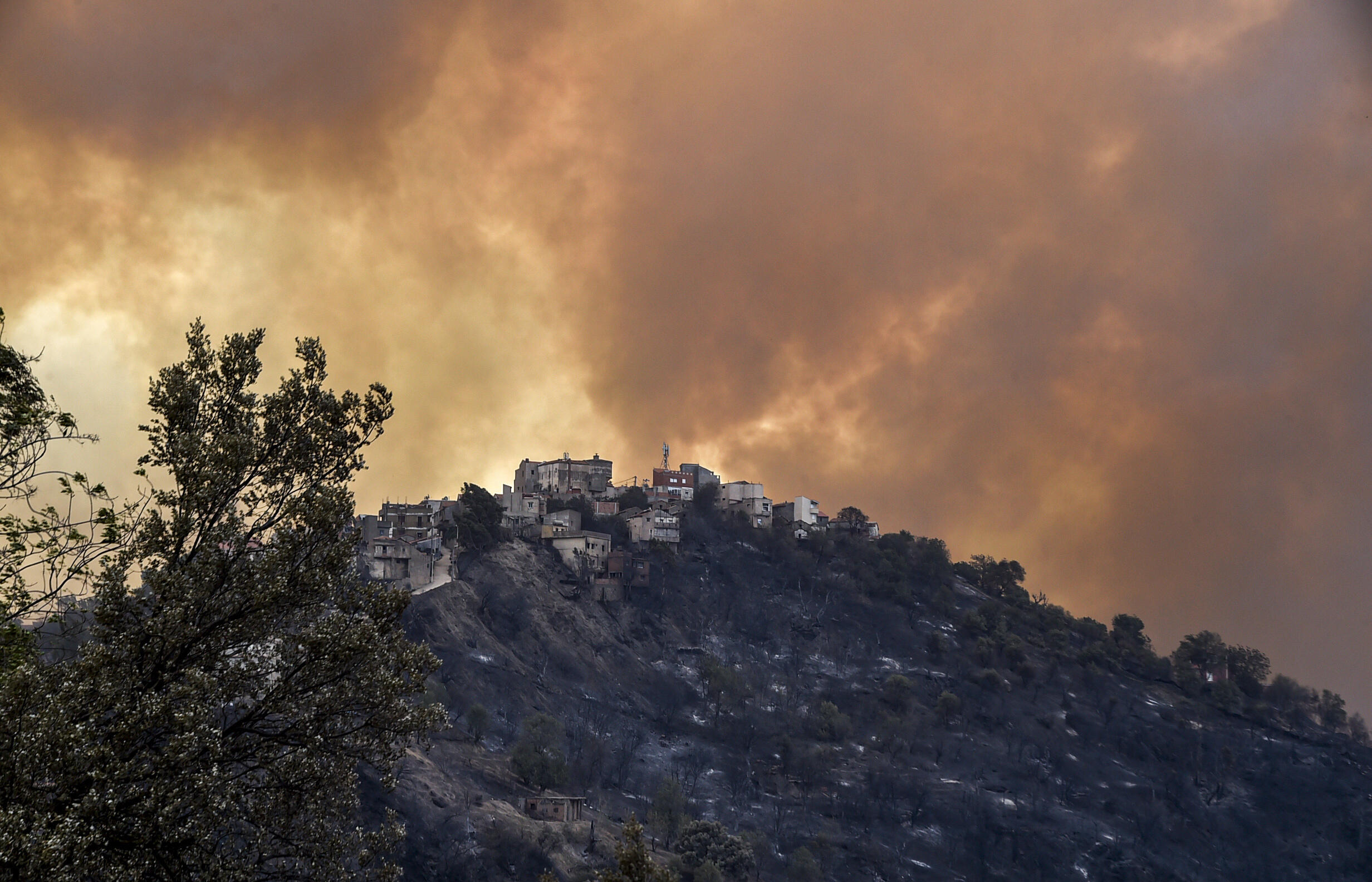 Smoke rises from a wildfire in the forested hills of the Kabylie region, east of the capital Algiers