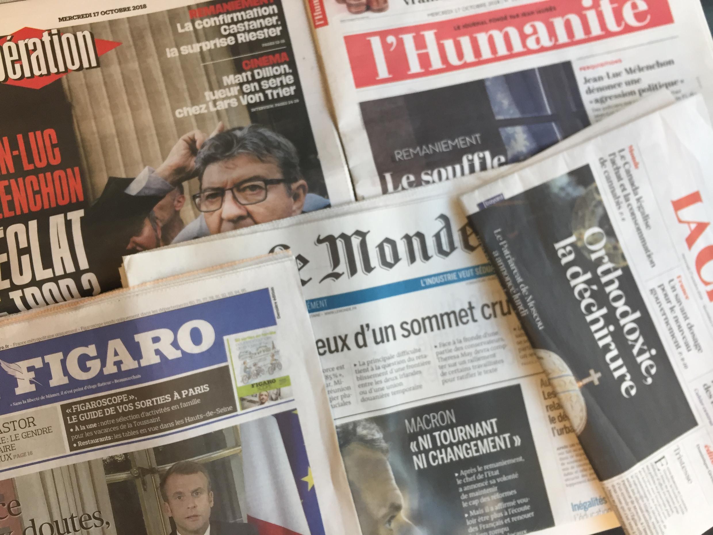 Primeiras páginas dos jornais franceses de 17 de outubro de 2018