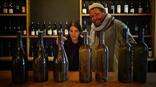 John Wurdeman and Nuria Renom discuss various vintages of wines at the Pheasant's Tears winery.