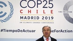 UN Secretary-General Antonio Guterres speaks during a news conference on the eve of the U.N. climate summit, COP 25, in Madrid, Spain, 1 December, 2019