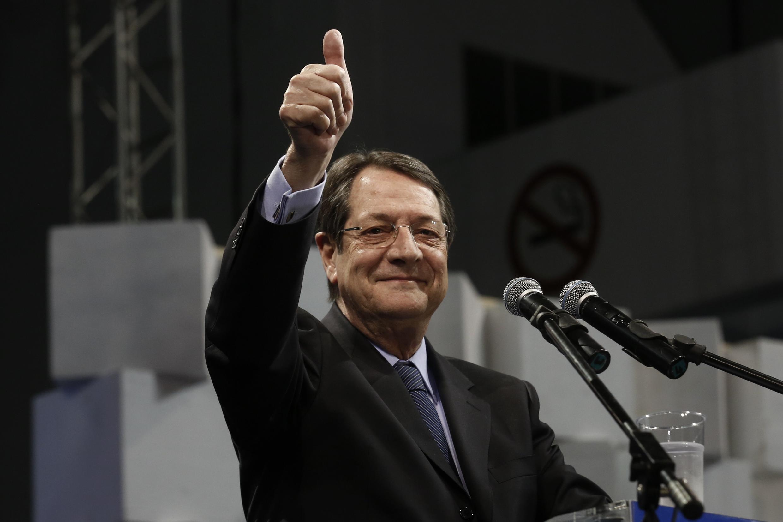 O presidente eleito, Nicos Anastasiades, em Nicosia, em 13 de fevereiro de 2013.