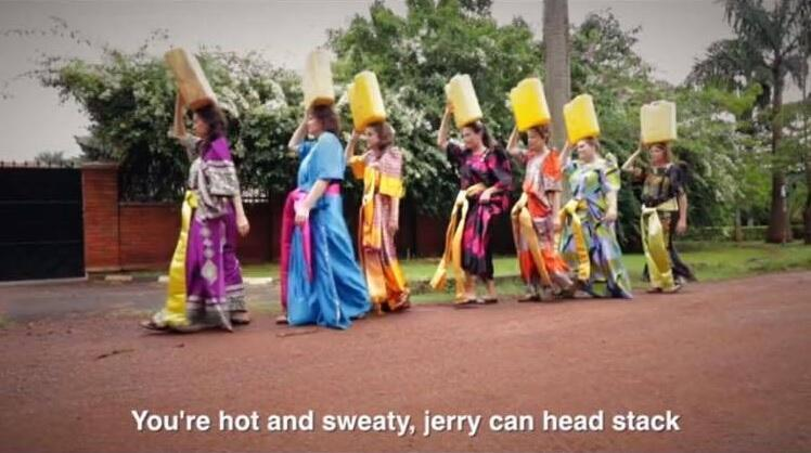 Screenshot from the 'dancing missionaries' video