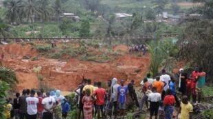 Glissement de terrain à Anyma près d'Abidjan à la suite des pluies diluviennes et des inondations qui ont touché la Côte d'Ivoire.