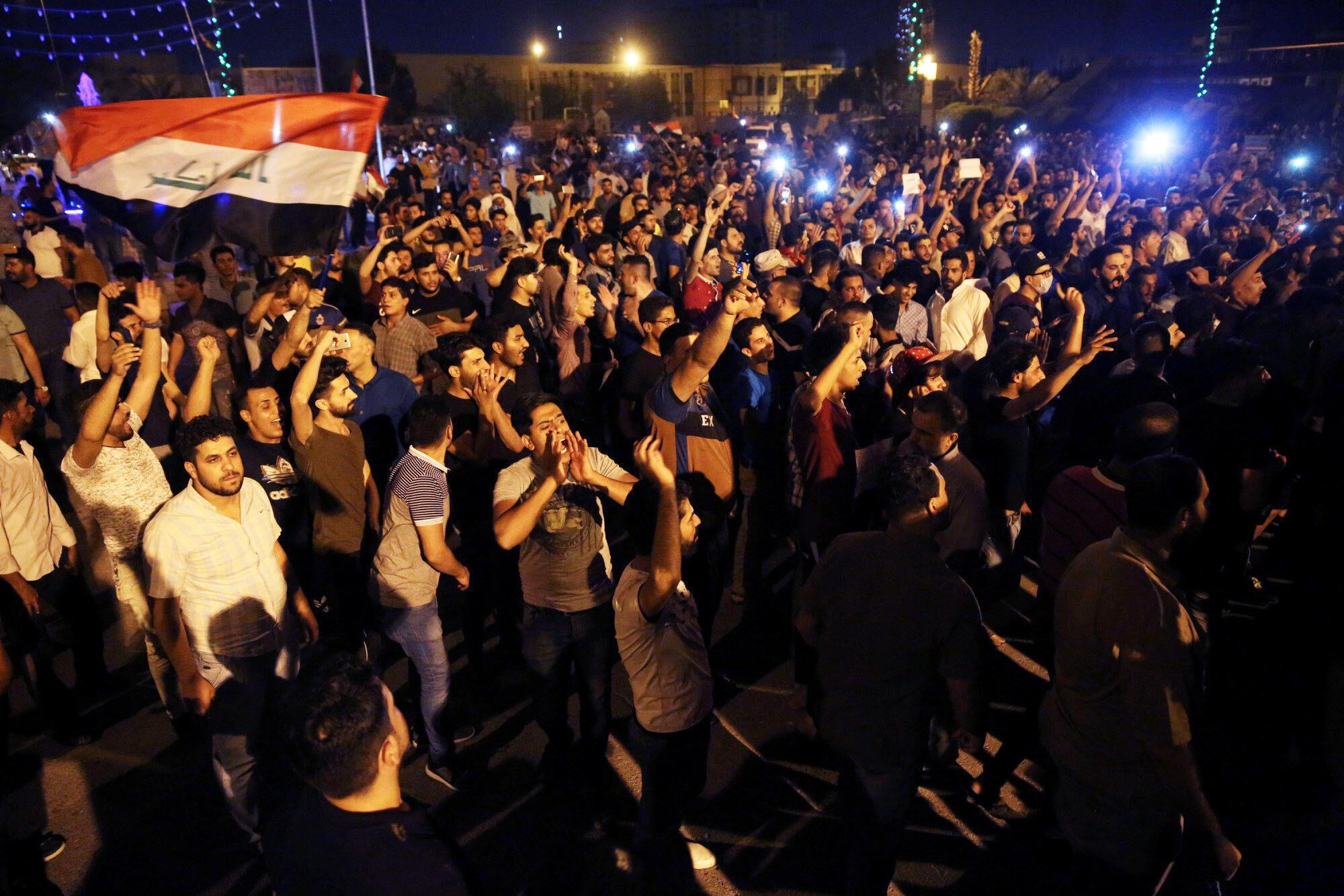 تظاهرات اعتراضی در شهر کربلا. شنبه ۲٣ تیر/ ١٤ ژوئیه ٢٠۱٨