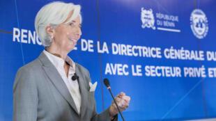 La directrice générale du FMI, Christine Lagarde a rencontré le secteur privé et quelques membres de la société civile à Cotonou, le 12 décembre 2017.