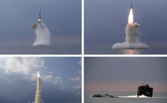 朝中社公布的朝鮮軍方試射潛射彈道導彈資料圖片
