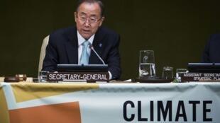 Le secrétaire général de l'ONU Ban Ki-moon, lors du sommet sur le climat, le 23 septembre 2014.