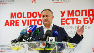 Moldova's presidential candidate Igor Dodon during a press conference after the end of voting in Chisinau on November 13, 2016
