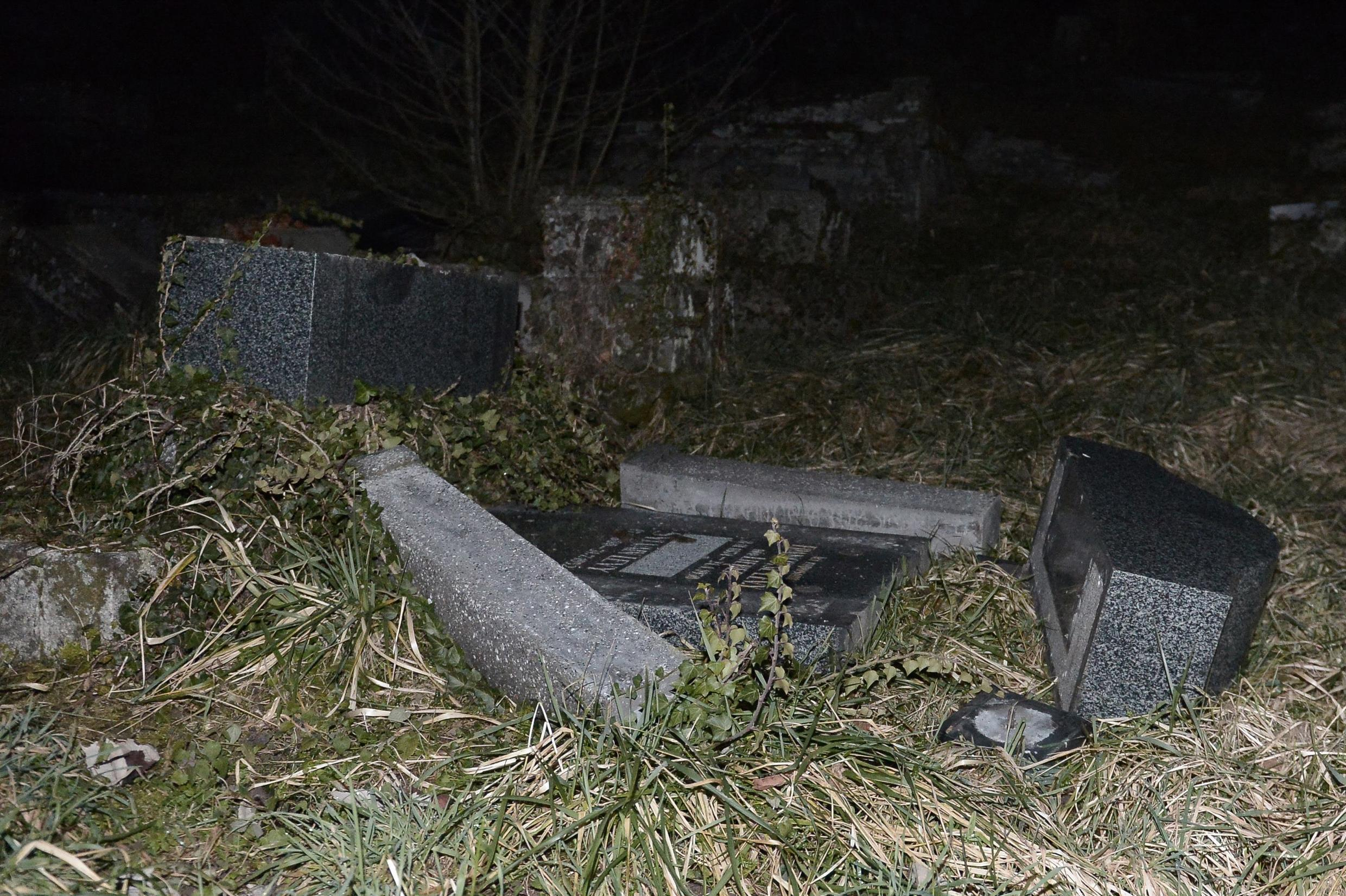 The Jewish cemetery at Sarre-Union in Alsace after the attack