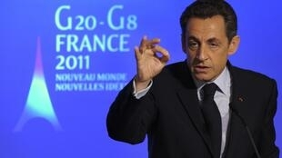 Sarkozy speaking during the press conference at the Elysee palace in Paris, 24 January