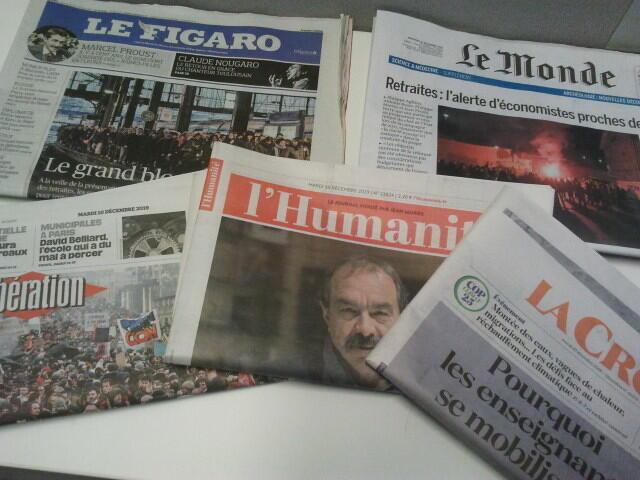 Primeiras páginas dos jornais franceses 10 de dezembro de 2019