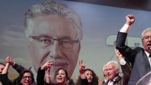 Hamma Hammami lors d'un meeting, le 16 novembre 2014 à Tunis.