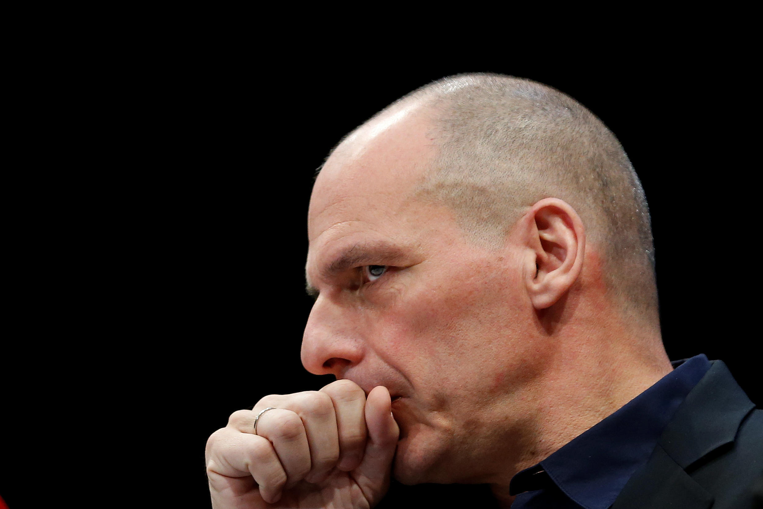 Former Greek Finance minister Yanis Varoufakis pauses during the presentation of his new party MeRA25 in Athens, Greece, 26 March 2018.