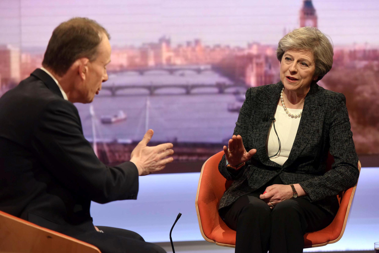 Thủ tướng Anh Theresa May trên đài truyền hình BBC, Luân Đôn. Ảnh ngày 22/01/2017.
