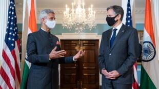 印度外长苏杰生与美国国务卿布林肯资料图片