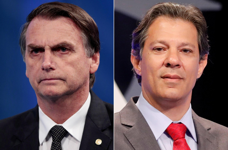 Jair Bolsonaro (esquerda) frente a Fernando Haddad (direita) nas eleições presidenciais no Brasil.