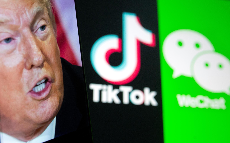 美国前总统特朗普与抖音国际版TikTok和微信示意图