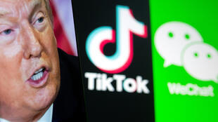 美國總統特朗普與抖音國際版TikTok和微信示意圖