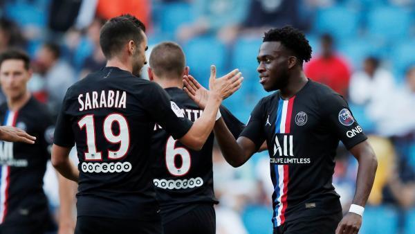Les Parisiens Pablo Sarabia et Arnaud Kalimuendo ont marqué lors du match amical face au Havre, le 12 juillet 2020.