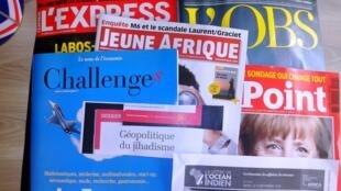 Capas de revistas semanais e especializadas francesas de 12 de setembro de 2015