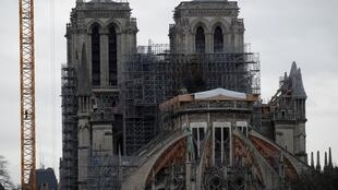 FILE PHOTO: General view shows the Notre Dame Cathedral, as works continue to stabilise the cathedral's structure nine months after a fire caused significant damage, in Paris, France, December 23, 2019.